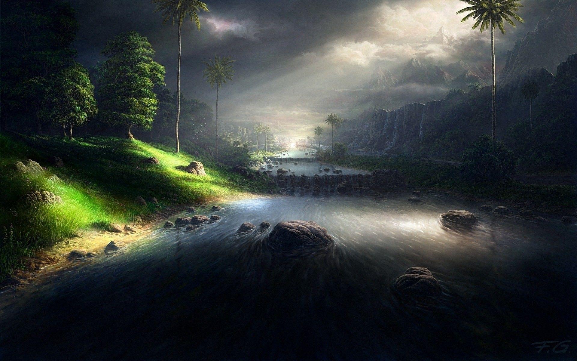 Sunlit dark river landscape digital art 3d wallpaper for 3d outdoor wallpaper