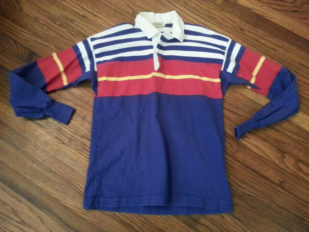 67c75081 Vintage Mens LL Bean Striped Long Sleeve Rugby Polo Shirt size L, l.l. bean  in Clothing, Shoes & Accessories | eBay