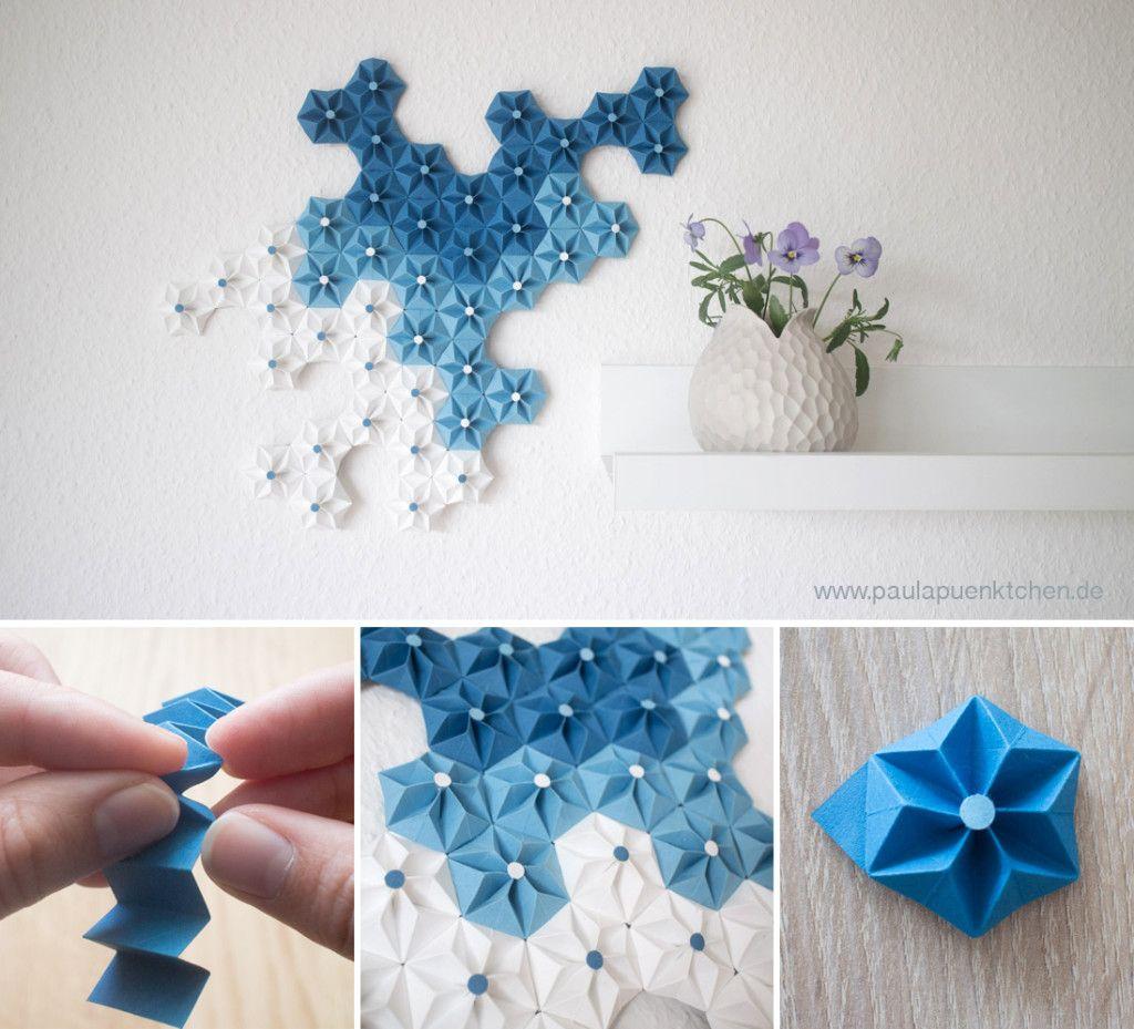 bastelanleitung deko aus papier origami blume hei klebepistolen streifen und origami blume. Black Bedroom Furniture Sets. Home Design Ideas