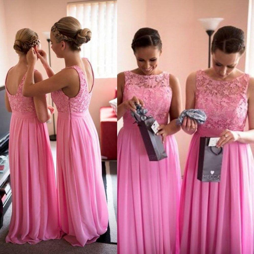 hot pink bridesmaid dress,long bridesmaid dress,cheap bridesmaid ...
