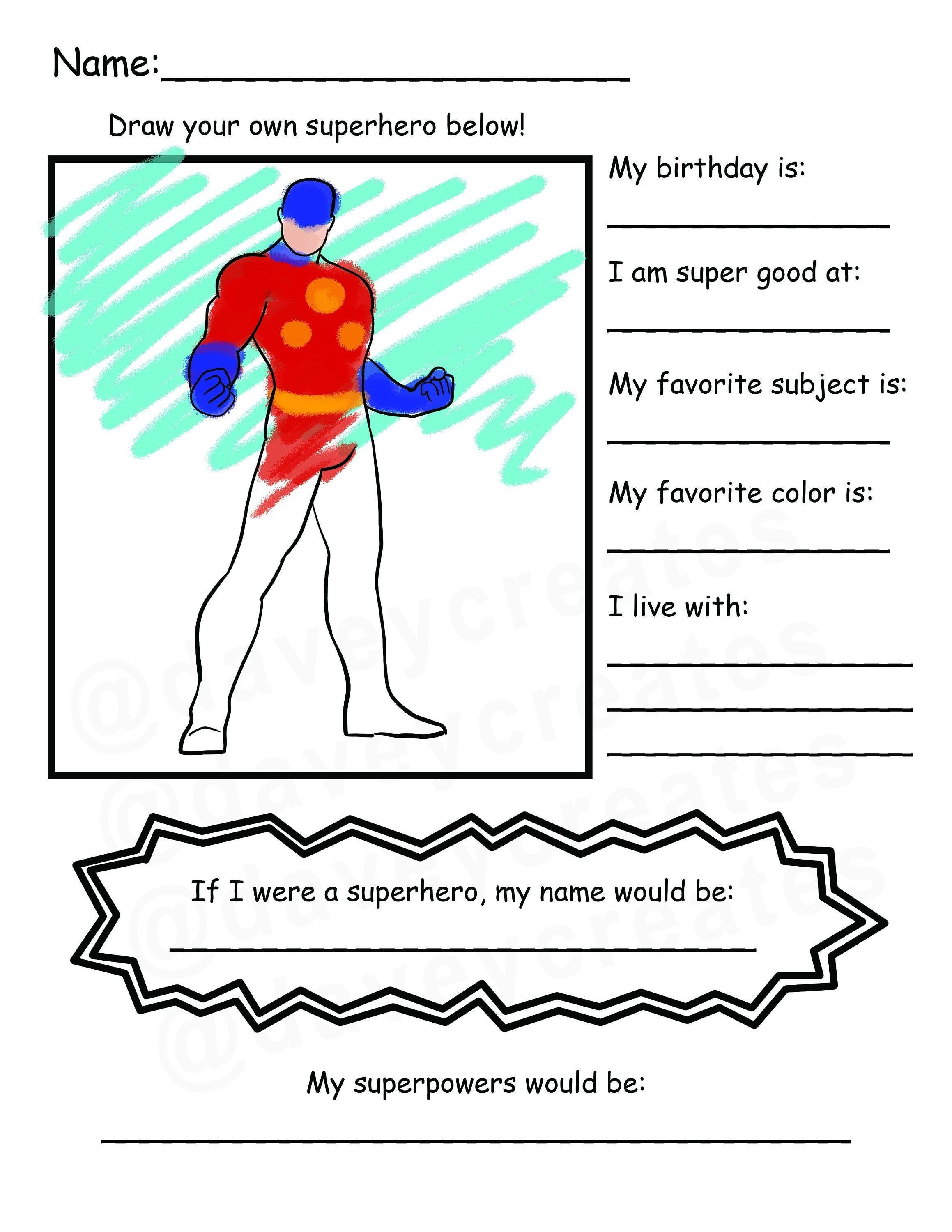 Back To School Superhero Get To Know You Coloring