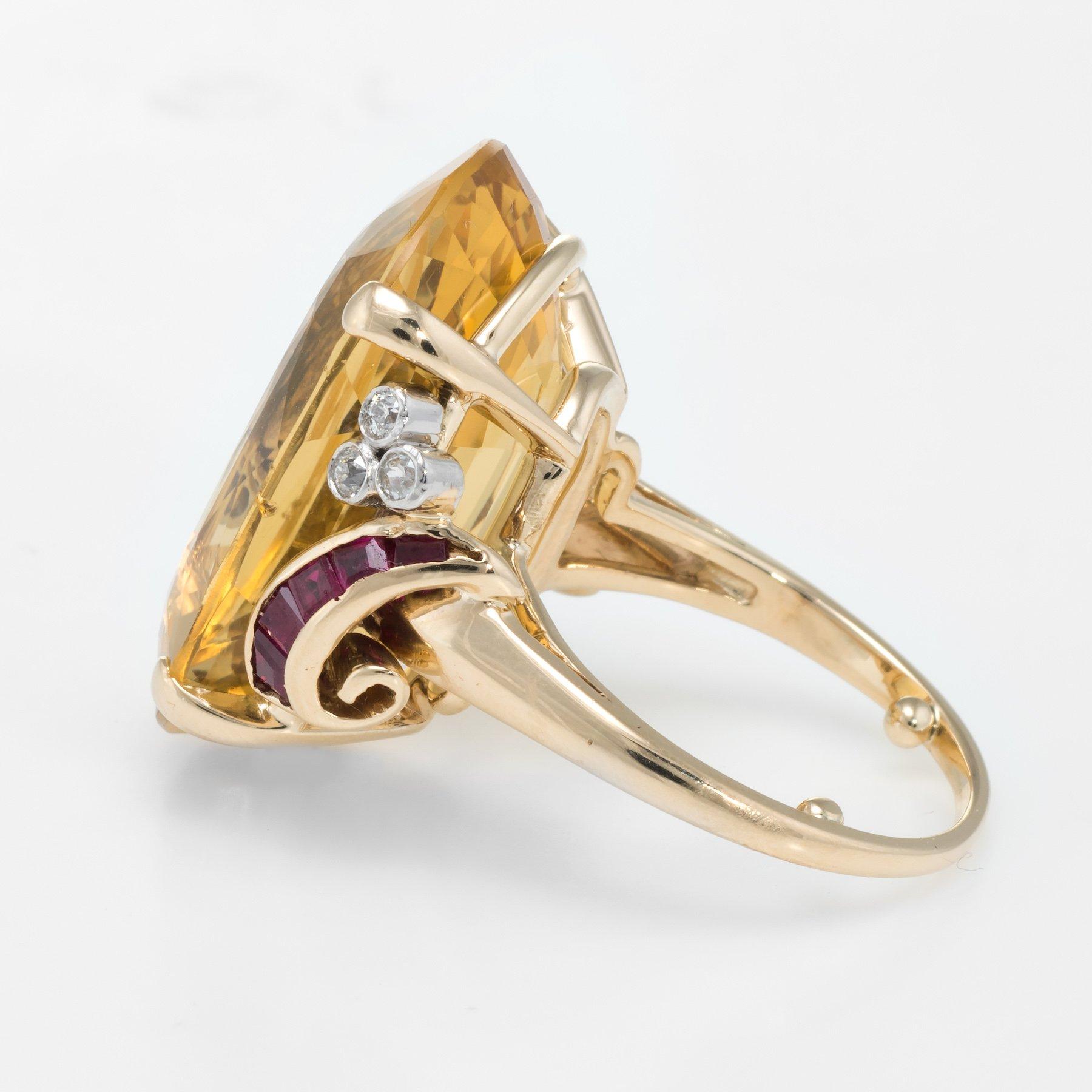 d8429b982fdbf Retro Citrine Ruby Diamond Cocktail Ring Vintage 14k Yellow Gold ...