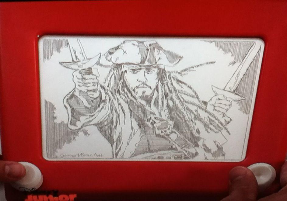 Captain jack sparrow etch a sketch art wow etch a