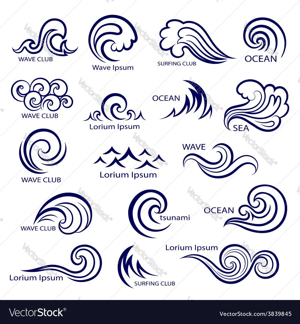 Set of isolated wave icons for your business. Download a