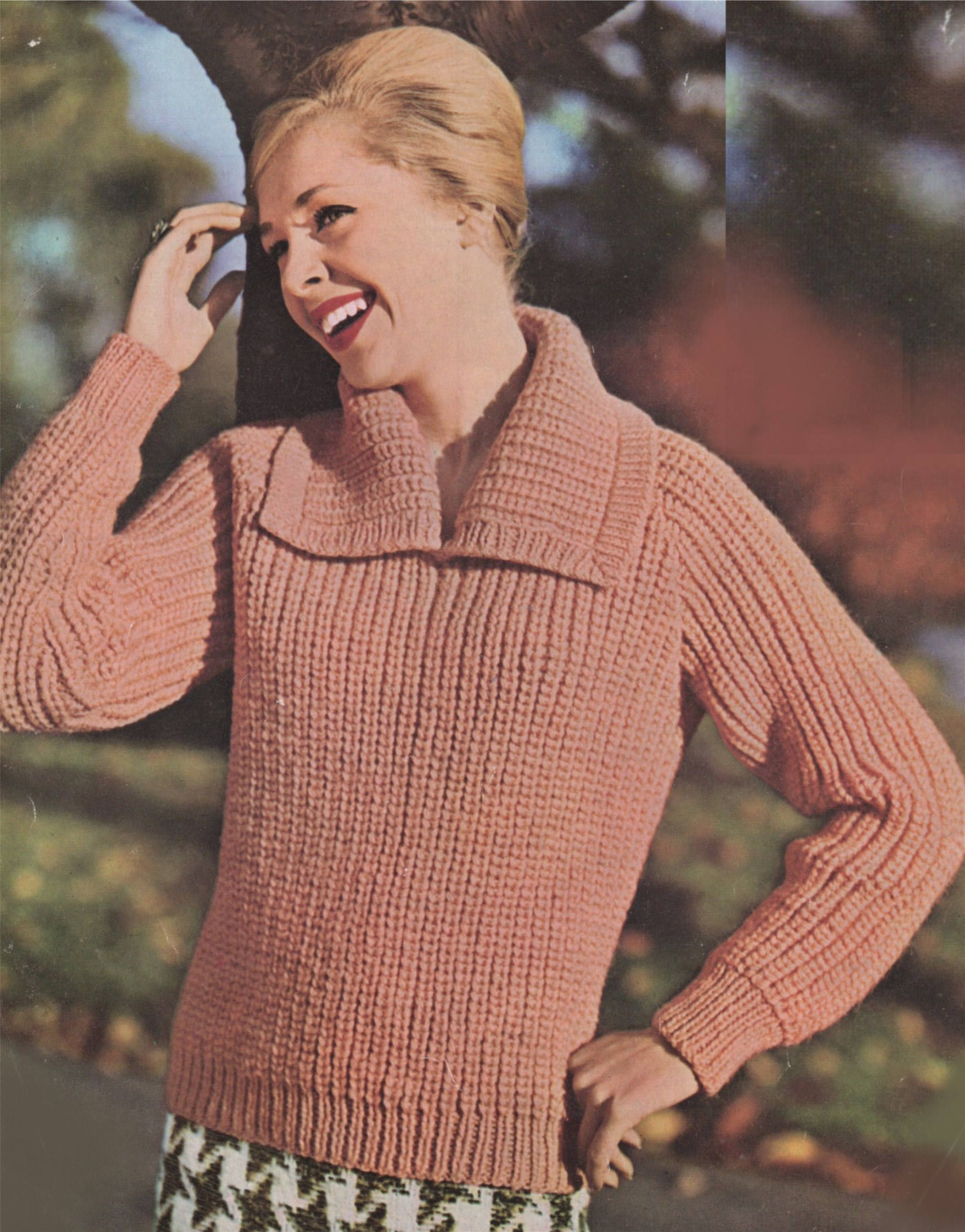 296935649c Womens Sweater PDF Knitting Pattern   Ladies 34 - 36 and 36 - 38 inch bust  . Chunky Jumper . Instant Download by PDFKnittingCrochet on Etsy
