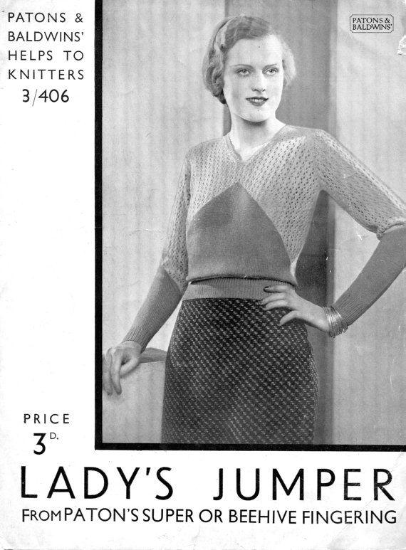 Fabulous 1920s 1930s 2 Colour Lace Jumper 36\