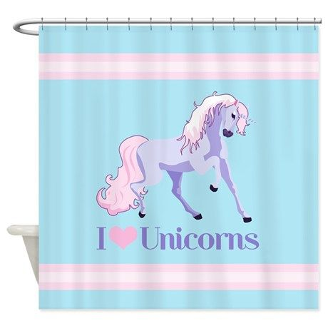 I Heart Unicorns Shower Curtain On CafePress