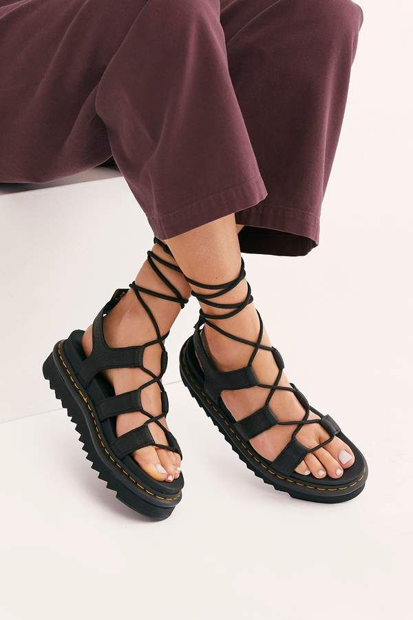 Dr. Martens Nartilla Grizzly Flatform Sandals in 2020 | Lace
