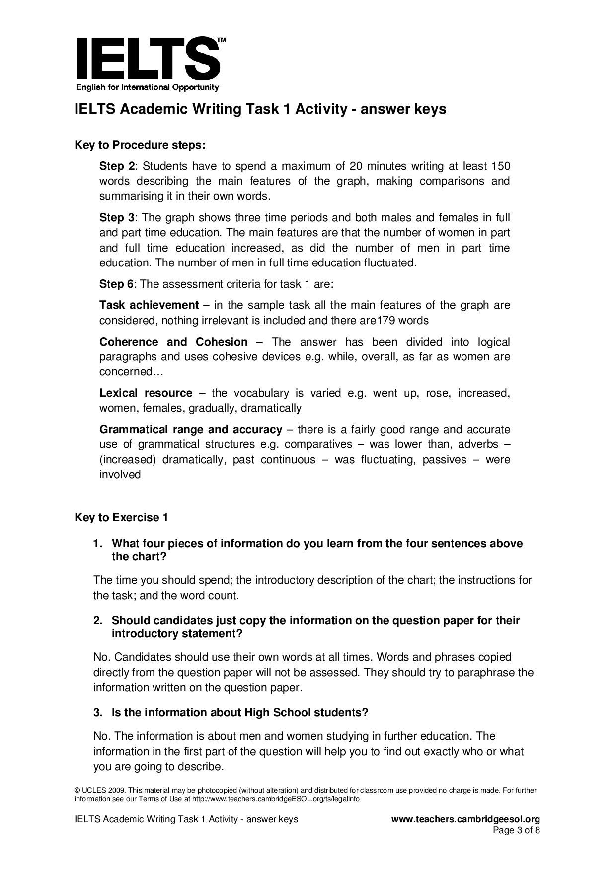 Ielts Academic Writing Task  Activity  Answer Keys Page