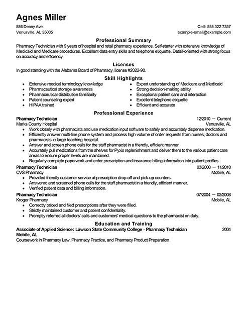 pharmacy tech resume sample