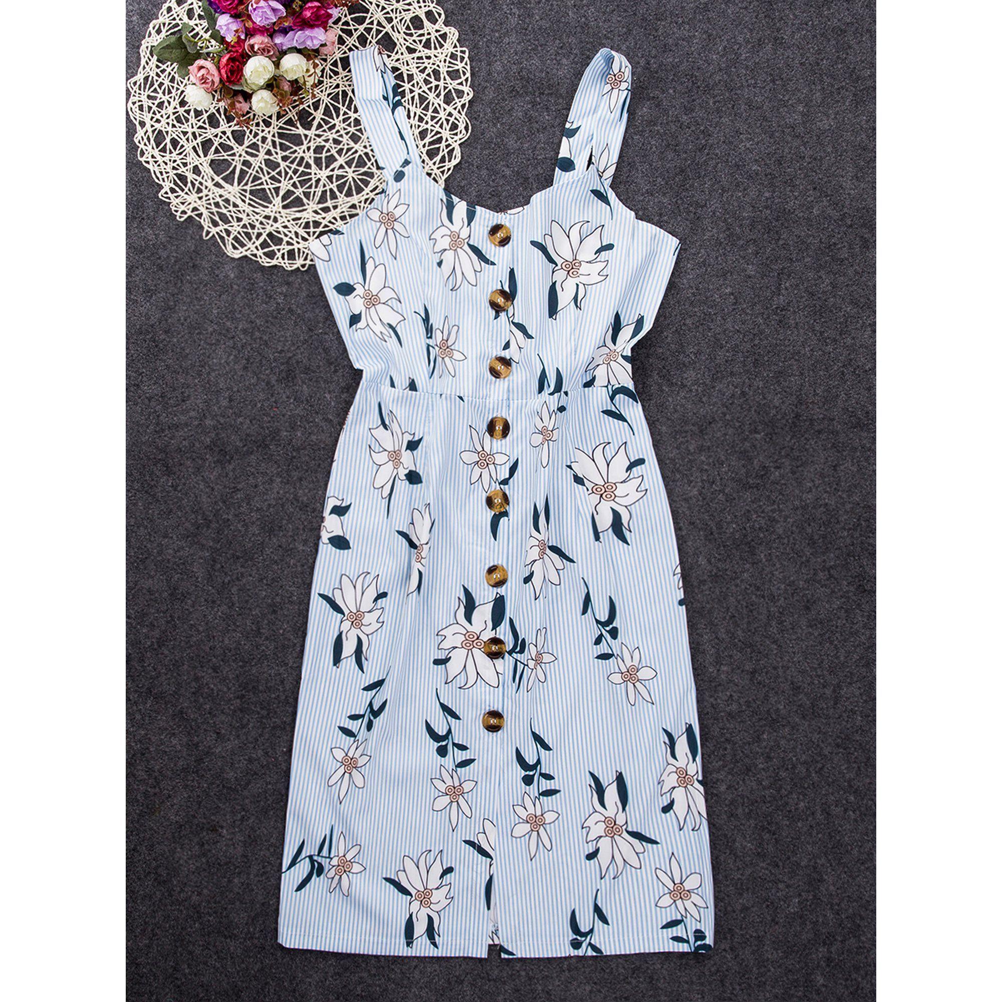 Focusnorm Focusnorm Women Sleeveless Button Bodycon Floral Sundress Summer Midi Dress Walmart Com Walmart Com Midi Dress Summer Dresses Sundress Summer [ 2000 x 2000 Pixel ]