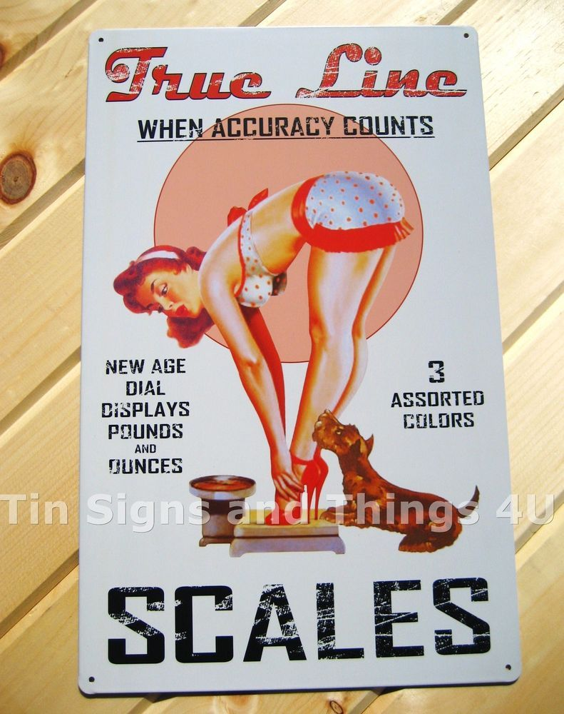 Vintage bathroom wall decor - Details About True Line Scales Tin Sign Vintage Ad Pinup Metal Garage Poster Wall Decor Ohw