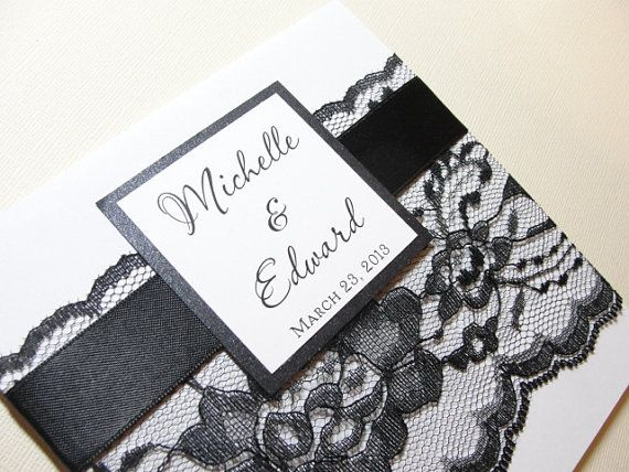 New Lace Wrapped Wedding Reception Invitations, Wedding Invites, Wedding Invitations, by Lavender Paperie on Etsy