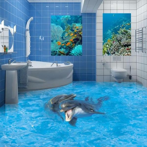 epoxidharz bad bodenbelag 3d meer delfinenpaar | badezimmer, Badezimmer ideen