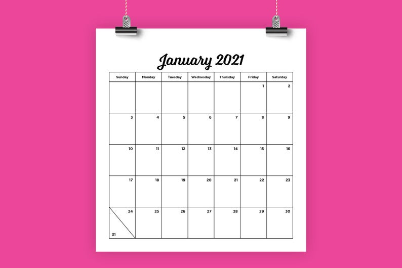 8 5 X 11 8 5 X 8 Inch 2021 Calendar Template Instant Etsy In 2020 Calendar Template 2021 Calendar Calendar