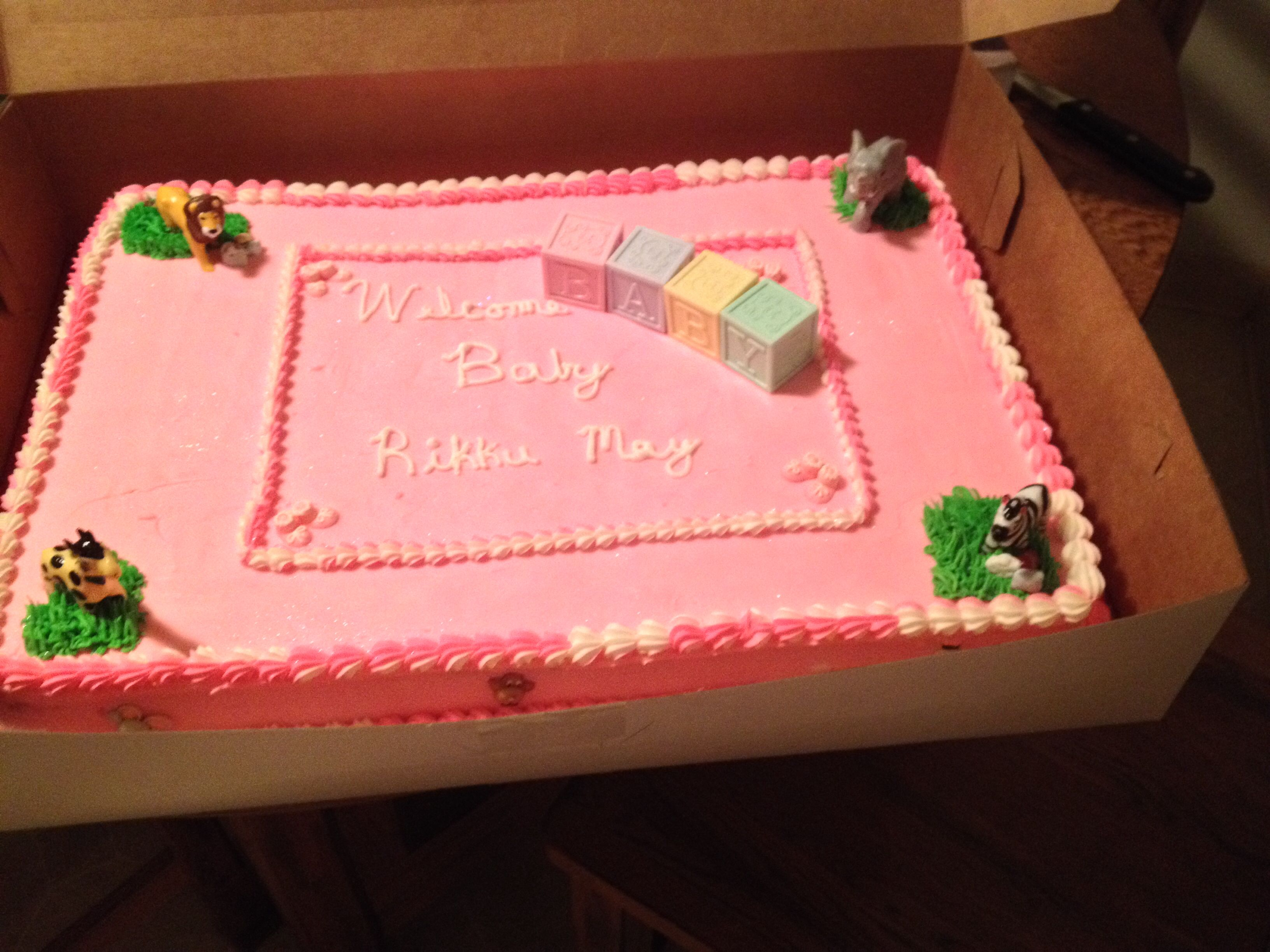 zoo themed baby shower cake done in pink heather michelle pinte