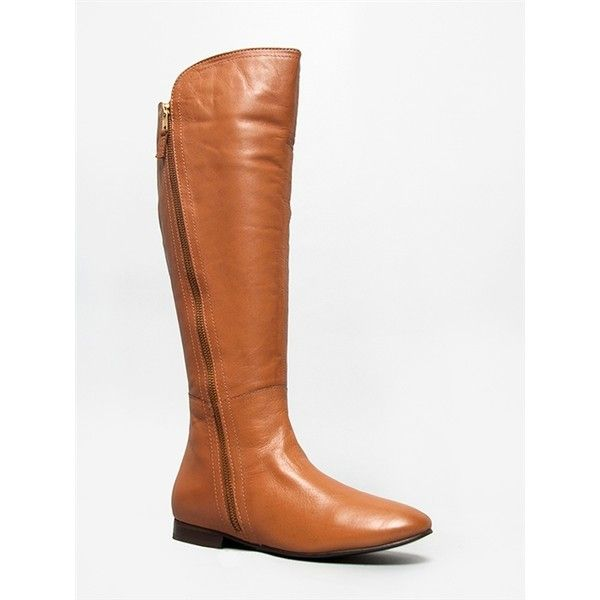 PRE MIUM Boot ($71) ❤ liked on Polyvore featuring shoes, boots, tan, tall boots, long leather boots, tan riding boots, tan leather boots and slip on boots