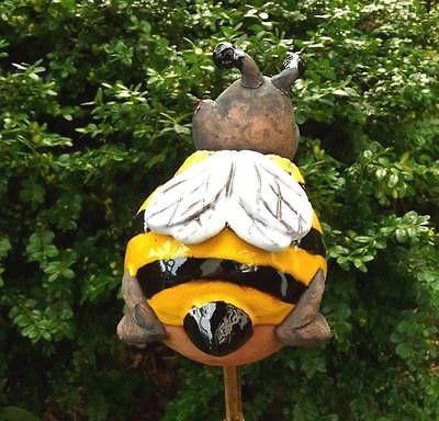 Gartenstecker Gartenkugel  Beetstecker Biene Maya  Keramik Gartendeko Handarbeit