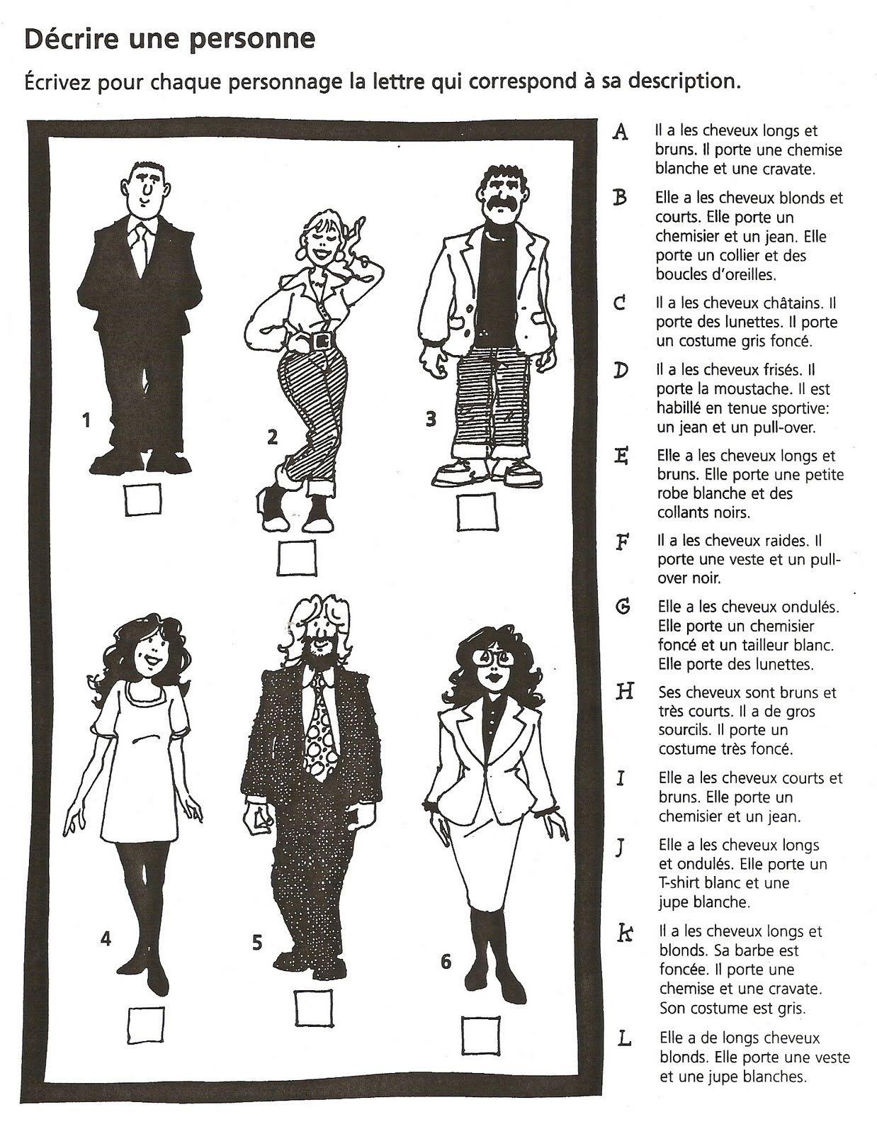 Trouvez La Bonne Description Anks For The Worksheet Because I Can T Draw