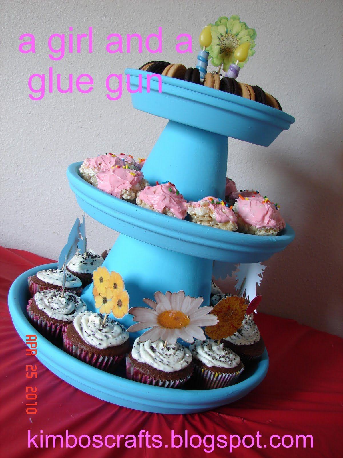 A girl and a glue gun: cupcake stands (terra cotta pots)