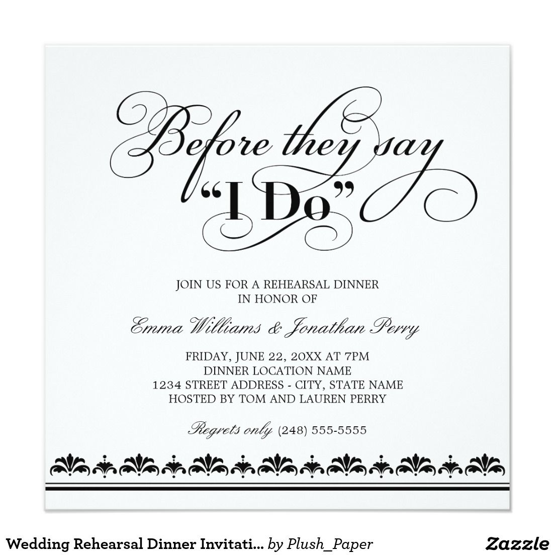 Wedding Rehearsal Dinner Invitation | Wedding Vows | Rehearsal ...