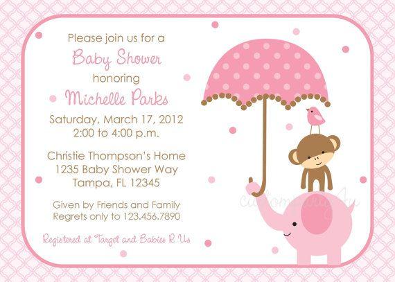 Polka Dot Elephant Baby Shower Invitation - Girl Design