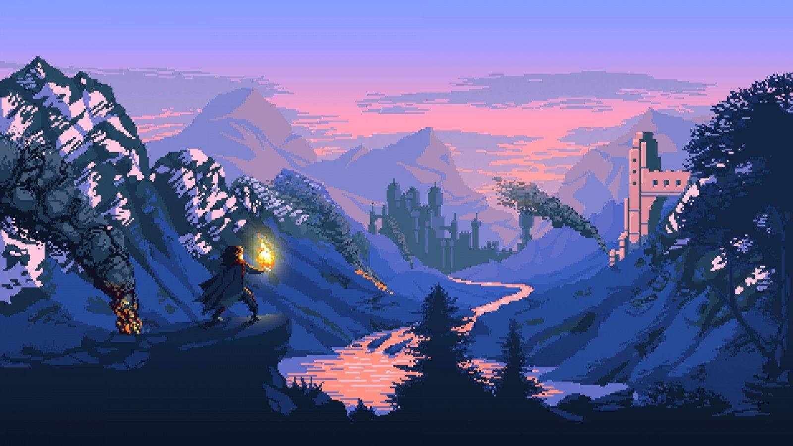 mountains digital art fantasy art pixel art castle