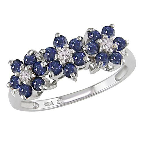 207 99 10k White Gold 1 Carat Blue And White Sapphire Flower Ring W Diamond Accent From Flower Diamond Ring Blue Sapphire Jewelry White Gold Sapphire Ring