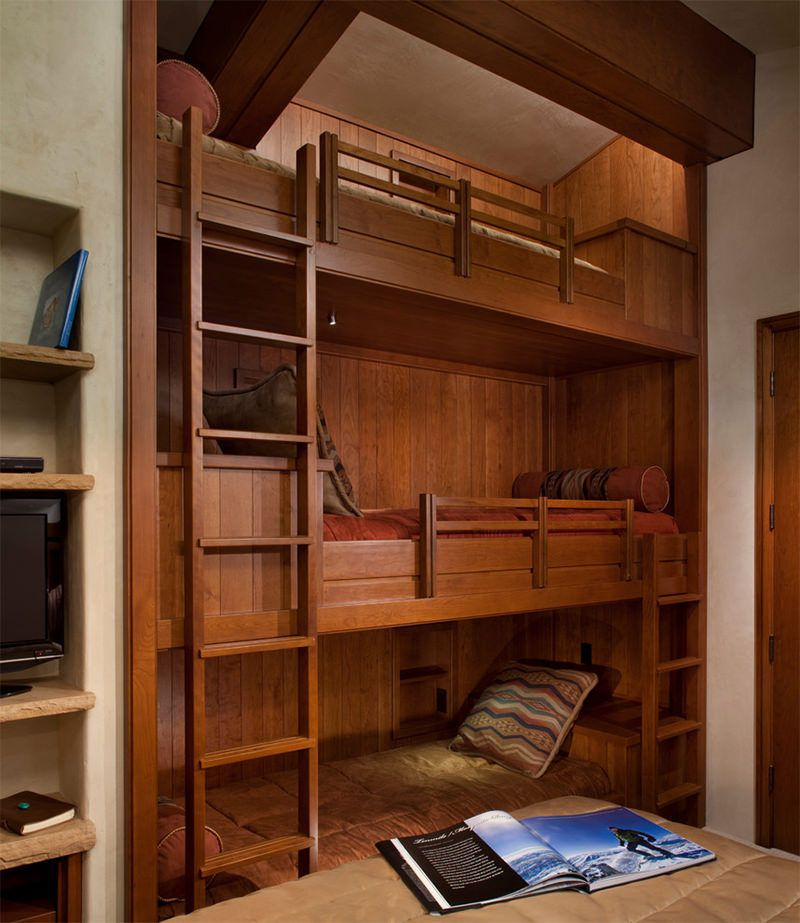 Custom Triple Beds Furniture Cabin Basement Ideas Bunk Beds