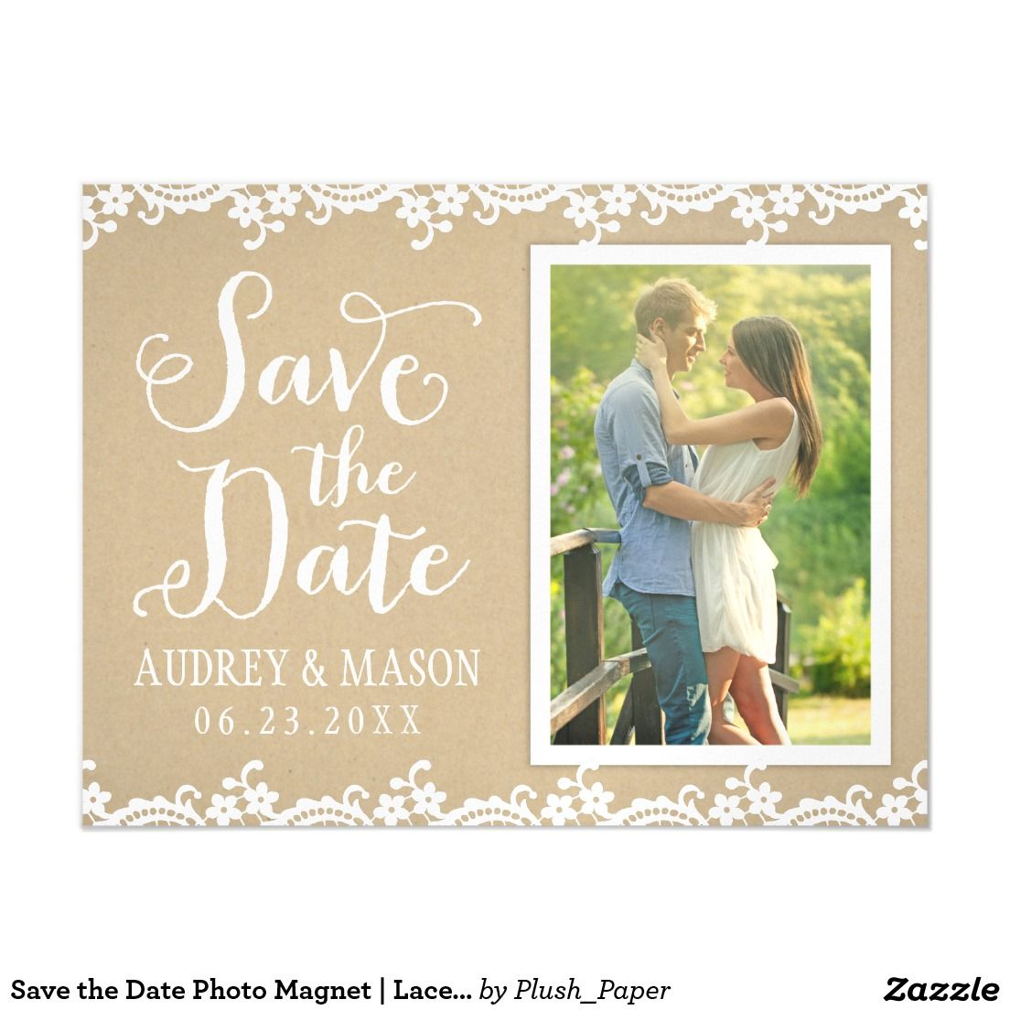 "Save the Date Photo Magnet | Lace and Kraft Magnetic Card Wedding announcement magnets feature a portrait engagement photo, ""Save the Date"" in script, a charming illustrated border design of white floral and dotted lace, and a background with a rustic kraft brown paper textured appearance. Two sided design."