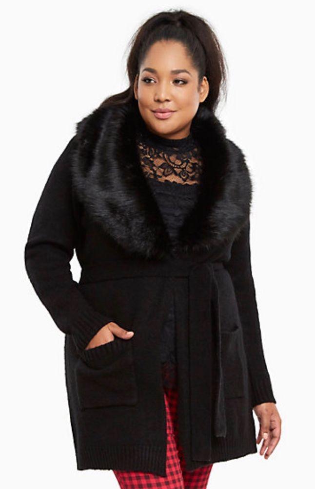 TORRID Faux Fur Collar Sweater Coat Size 2   eBay   Sweater