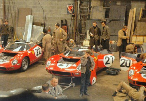 Ferrari garage at LeMans, 1963.