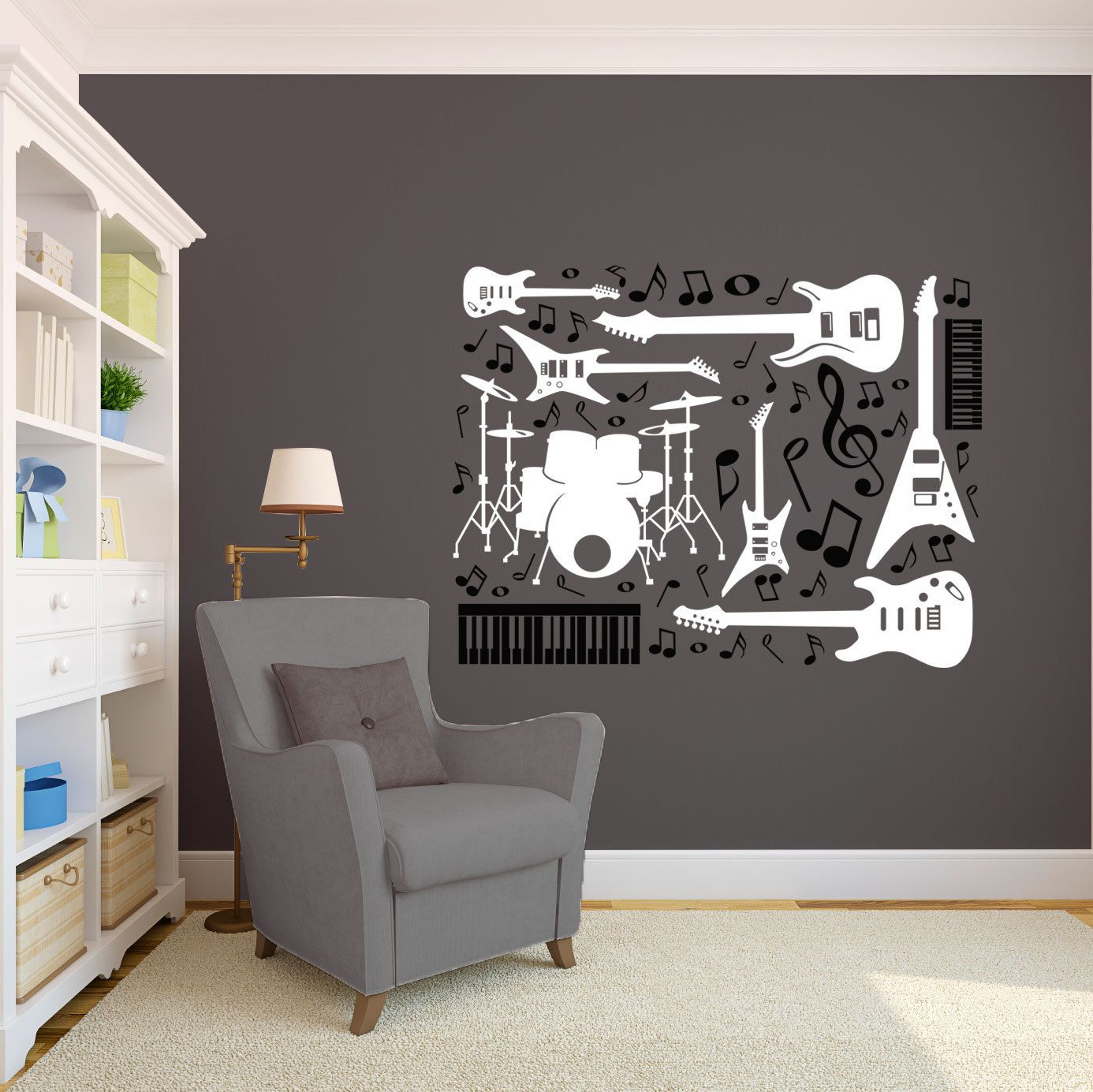 Drums Guitars Keyboards And Music Notes Collage Rock Star - Custom vinyl guitar stickers