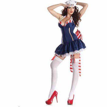Pin Up Sailor Body Shaper Adult Halloween Costume, Women\u0027s, Size - ladies halloween costume ideas