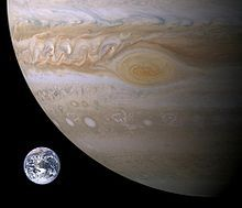 Jupiter and Earth. Makes me feel very small.