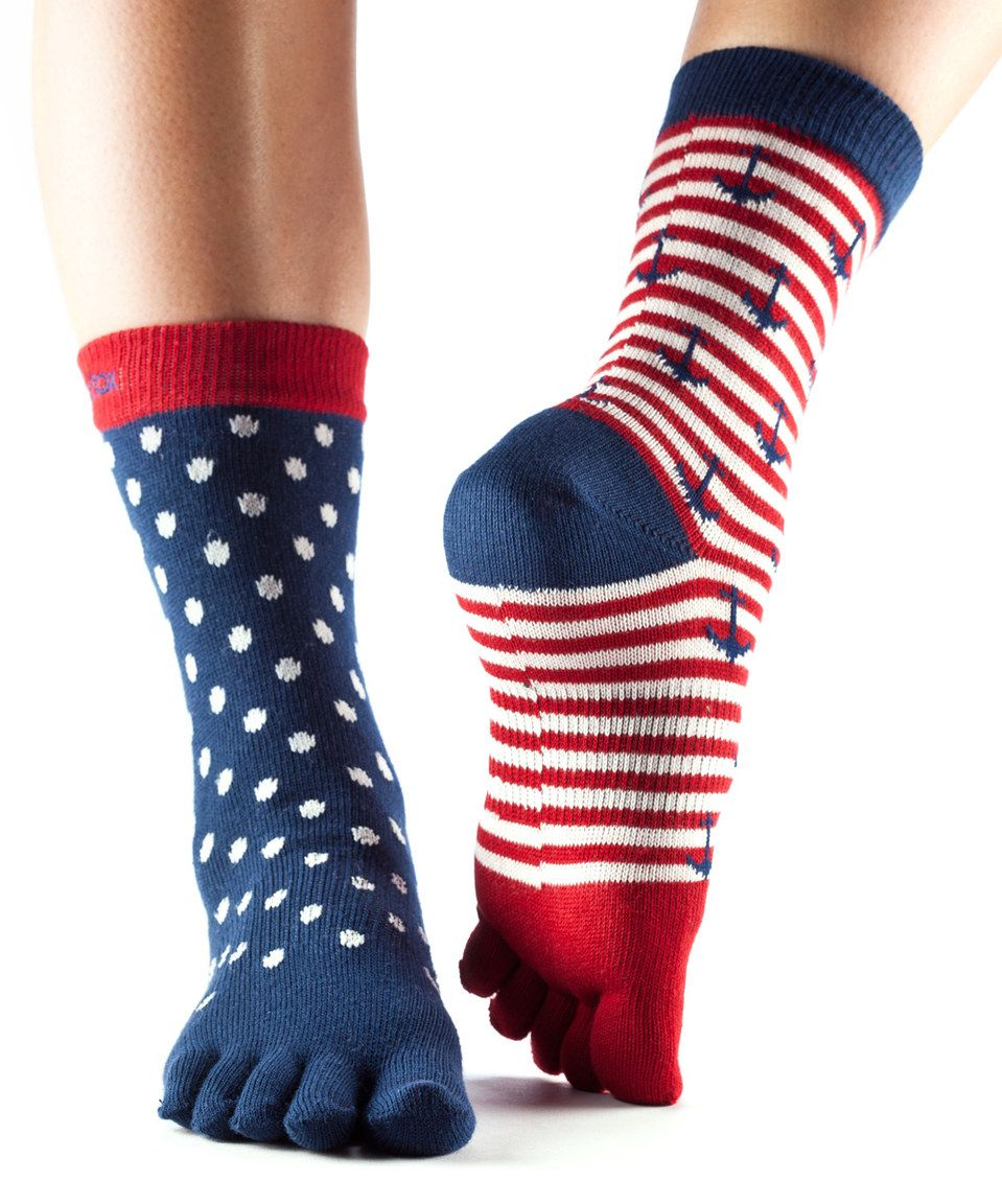 Another great find on #zulily! ToeSox Sail Away Full-Toe Organic Crew Socks by ToeSox #zulilyfinds