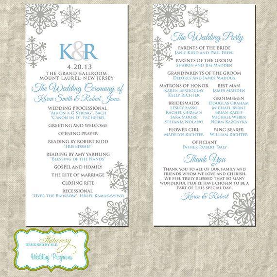 Elegant Snowflake Wedding Programs - Personalized Ceremony Programs - Set of 25 on Etsy, $40.00
