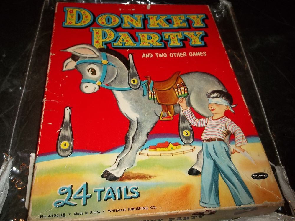Vintage Whitman Donkey party & two Games w Instructions 1941 Pin tail on Donkey #WhitmanPublishing