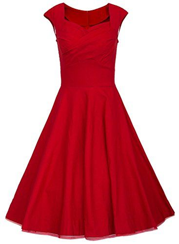 MUXXN® Women 1950s Vintage Retro Capshoulder Party Swing Dress (XL, Red)