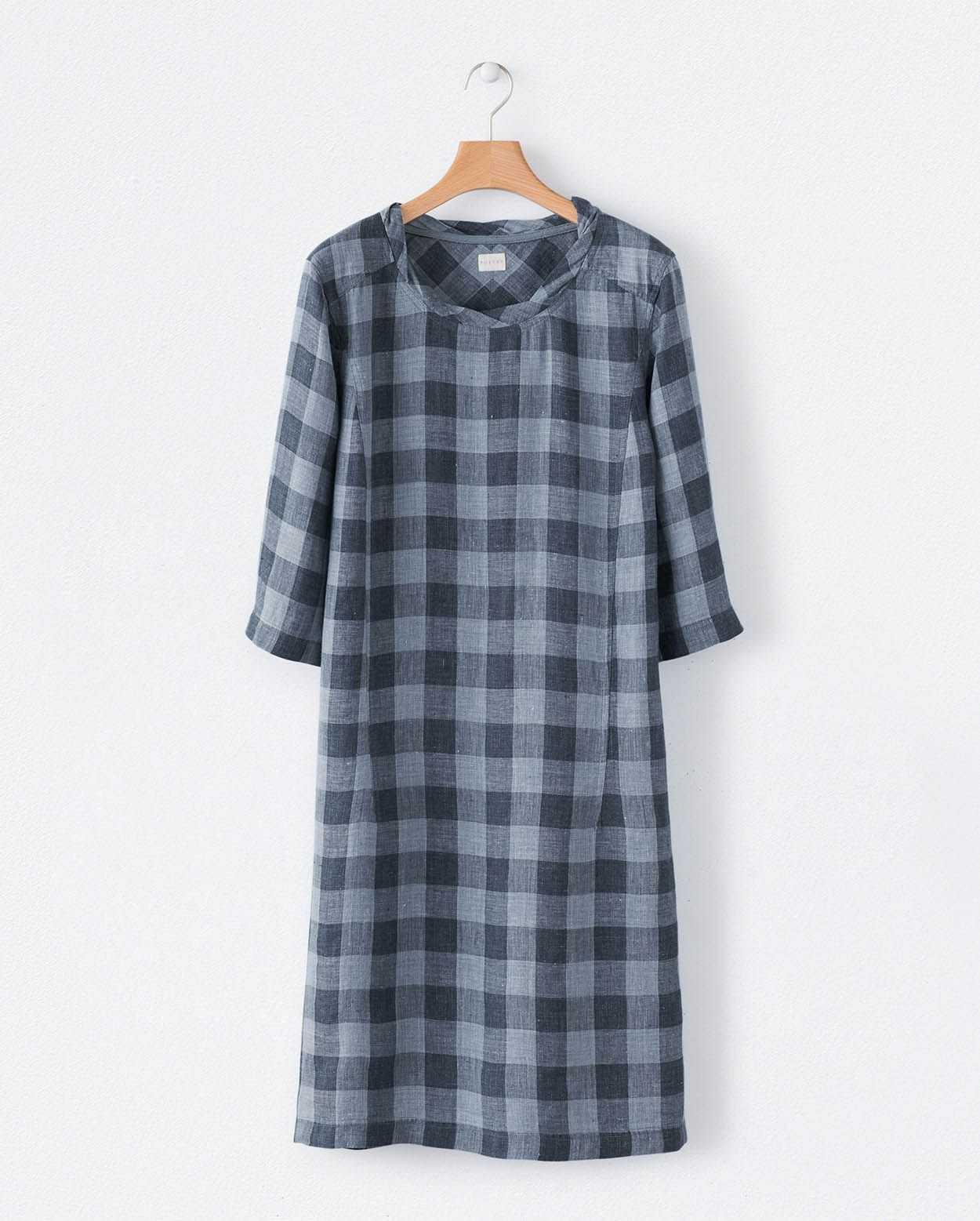 poetry - checked linen dress : grey blue / ink stone