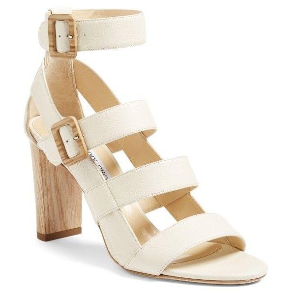 Women's Jimmy Choo Maya Block Heel Sandal ($875) ❤ liked on Polyvore  featuring shoes