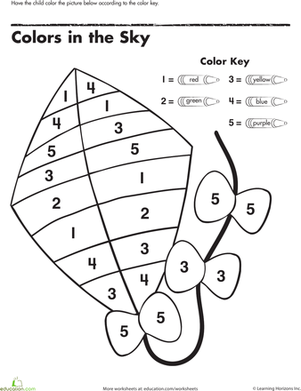 Color By Number Kite Early Childhood Preschool Worksheets Math