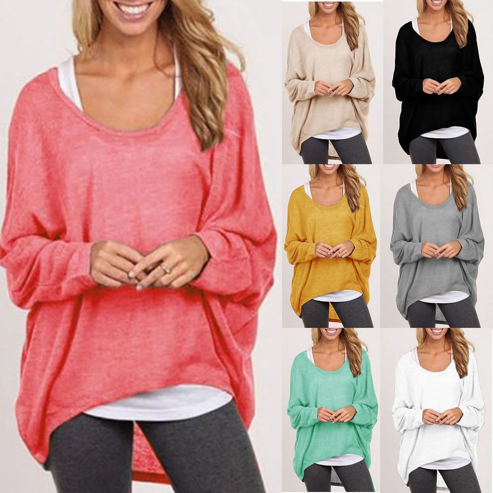 Women Plus Size Long Sleeve Pullover Sweater Oversized Baggy Loose ...