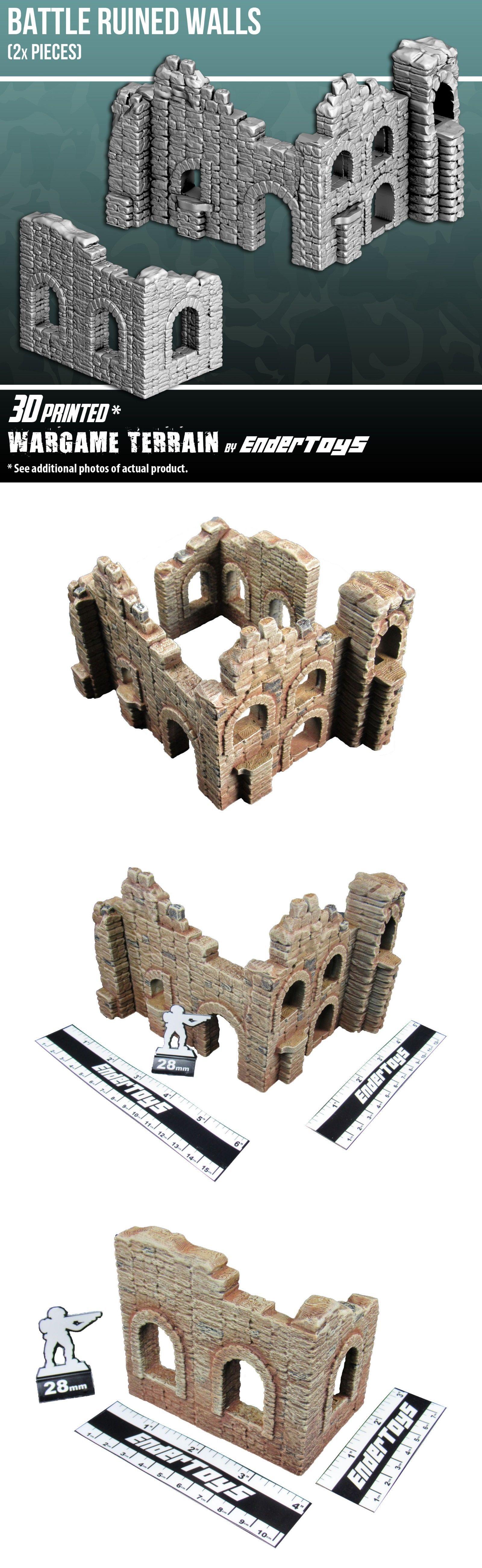 40K Terrain and Scenery 152940: Battle Ruined Walls, Terrain