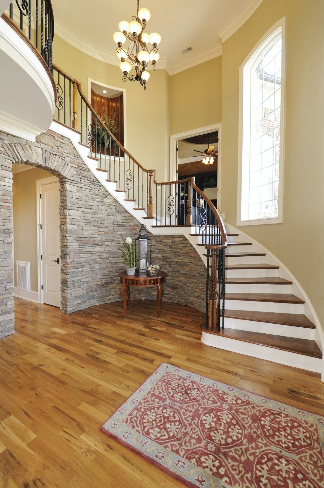 Best 30 Creative Stair Decoration Ideas Stair Decor Faux Stone Walls Foyer Decorating 400 x 300