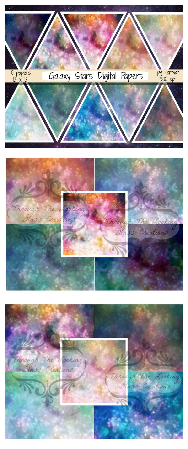 Star Digital Paper Starry Sky Digital Paper Galaxy Background