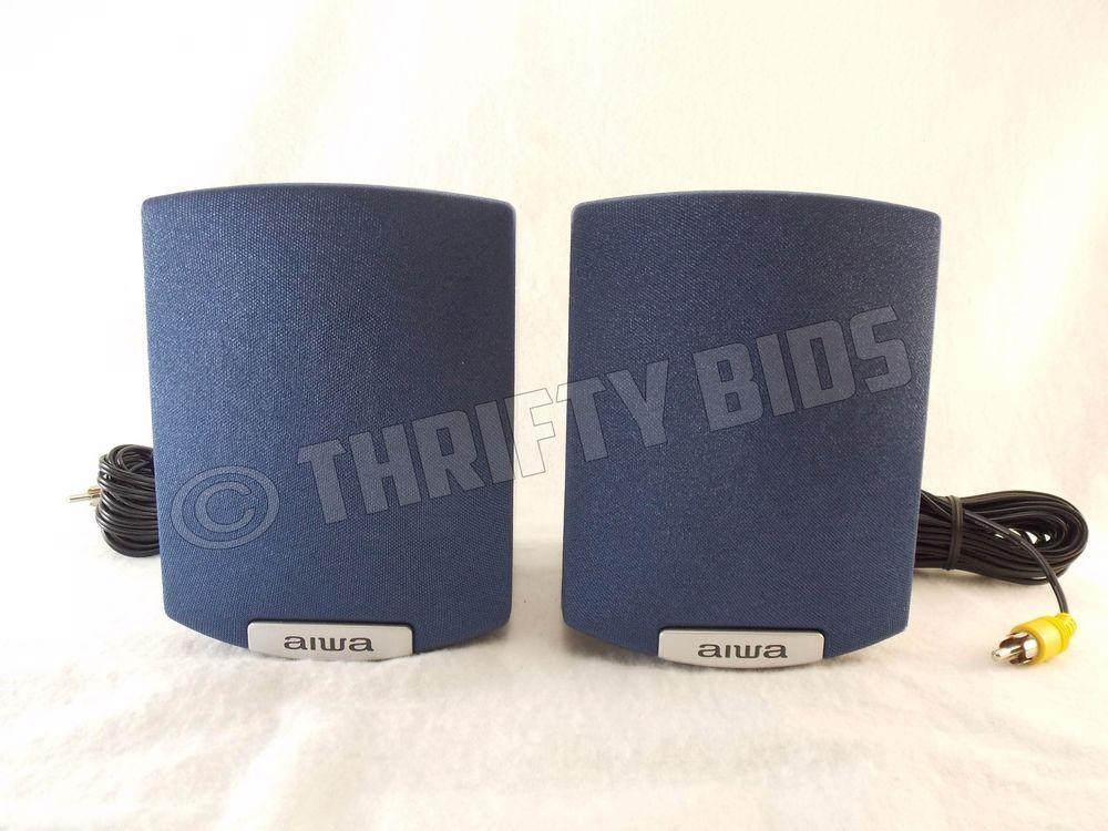 Aiwa SX R145 Stereo Satellite Wired Bookshelf Speakers 2 Pc Gray Blue 5 Tall