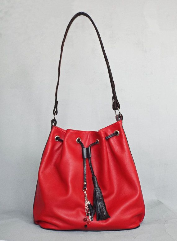 7a1b20e7a0c5 Read leather drawstring bag. Red hobo leather bag. Red black leather  shoulder purse.
