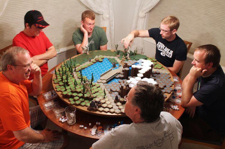 Saturday night heroscape game on hygground terrain tiles