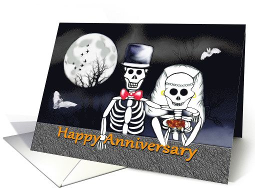 Happy #Anniversary on #Halloween #skeleton bride and groom card ...